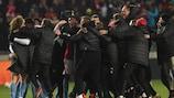 Slavia celebrate their exhausting win against Sevilla