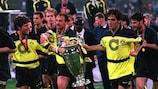 Dortmund celebrate winning the 1996/97 UEFA Champions League final