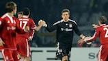 Hans-Jörg Butt is congratulated after scoring against Juventus