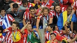 Atlético defeated Fulham to become the first winners of the UEFA Europa League