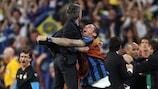 Inter coach José Mourinho celebrates in Madrid