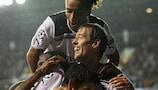 Peter Crouch celebrates scoring his second goal and Tottenham's third against Young Boys