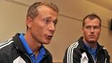 Paolo Valeri and Danny Makkelie talking to UEFA.com