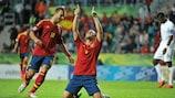 Paco Alcácer (right) celebrates with Jesé Rodríguez after scoring for Spain