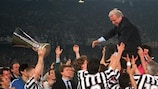 Coach Giovanni Trapattoni is held aloft after Juventus win the 1992/93 UEFA Cup