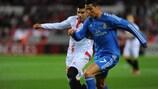 José Antonio Reyes, en una acción ante Cristiano Ronaldo