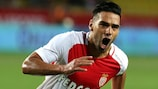 Radamel Falcao celebrates scoring for Monaco against Fenerbahçe