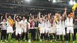 Sevilla celebrate their third successive triumph