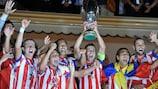 A festa dos jogadores do Atlético após o triunfo na SuperTaça Europeia 2012