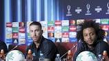 Sergio Ramos y Marcelo comparecieron ante los medios en Skopie