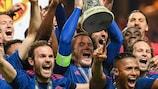 O United comemora a conquista do troféu europeu que lhe faltava no palmarés