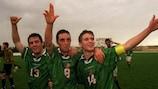 Shaun Byrne (à direita) e Keith Foy (à esquerda) marcaram golos importantes para a República da Irlanda nas meias-finais e final, respectivamente