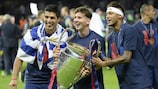 Neymar, Lionel Messi and Luis Suárez after winning the UEFA Champions League in June