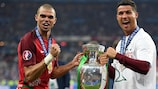 Pepe and Cristiano Ronaldo with the trophy