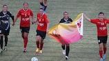 O Olimpia Cluj festeja o apuramento após levar a melhor sobre o 1º de Dezembro