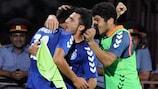 Viulen Ayvazyan (izquierda) celebra su gol con el Pyunik ante el Teteks