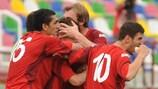 Os jogadores do Dila Gori comemoram um dos três golos que marcaram no triunfo na recepção ao Aalborg