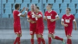 Differdange celebrate one of their goals in the 2-1 victory over Utrecht
