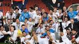 Sevilla players celebrate their success