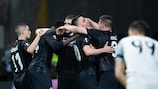 Frankfurt celebrate their crucial second against Benfica