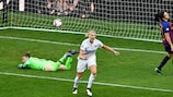 Ada Hegerberg celebrates scoring Lyon's second goal of the final