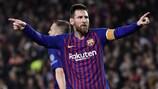 Lionel Messi, tras marcar su segundo gol con el Barcelona en la ida