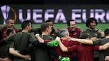 Os jogadores do Arsenal treinam no Mestalla