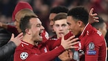 Liverpool players celebrate their extraordinary success against Barcelona
