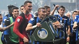 Atalanta celebrate sealing a place in the UEFA Champions League group stage
