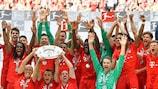 Bayern celebrate winning the German title last season