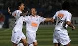 Danilo (left) celebrates scoring in Santos's winning Copa Libertadores run