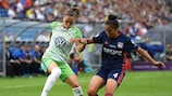 Ewa Pajor (left) in action for Wolfsburg against Lyon in last season's UEFA Women's Champions League final