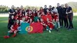 Portugal festeja após garantir a qualificação para o EURO Feminino Sub-17 pela segunda vez