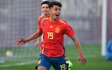 Spain's Israel Salazar celebrates his added-time winner against FYR Macedonia