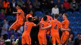 The Netherlands celebrate their semi-final win against hosts England