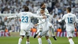 Ronaldo is mobbed after his goal against Dortmund