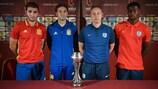 Spain captain Abel Ruiz (left), coach Santi Denia, England's Steven Cooper and skipper Marc Guehi