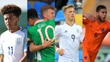 Jadon Sancho, da Inglaterra, Adam Idah, da Irlanda, Jann-Fiete Arp, da Alemanha, e Achraf El Bouchataoui, capitão da Holanda