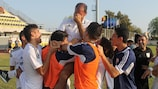 Ioannis Okkas is overcome by emotion after Cyprus reach the elite round