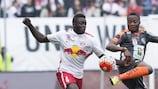 Dayot Upamecano (left) in Austrian Bundesliga action for Salzburg