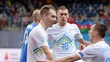 Slovenia celebrate a goal at UEFA Futsal EURO 2014 in Antwerp