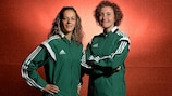 Ivana Martinčić and Vivian Peeters are two of the referees enjoying their work at the WU17 finals