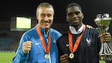 Jean-Claude Giuntini and Odsonne Edouard celebrate France's 4-1 defeat of Germany