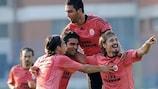 Galatasaray celebrate in Belgrade