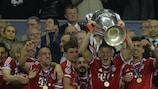 El Bayern celebra la consecución de la UEFA Champions League en Wembley