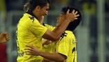 Shinji Kagawa und Nuri Sahin feiern Dortmunds 4:0-Erfolg