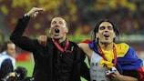 Atléticos Trainer Diego Simeone und Matchwinner Falcao