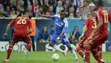 Salomon Kalou en acción ante el Bayern durante la final de la UEFA Champions League de 2012