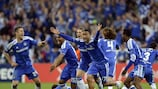 Chelsea celebrate after Didier Drogba's decisive penalty