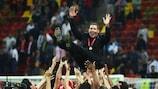 Atlético coach Diego Simeone celebrates victory in Bucharest